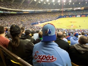 Fans wear Montreal Expos