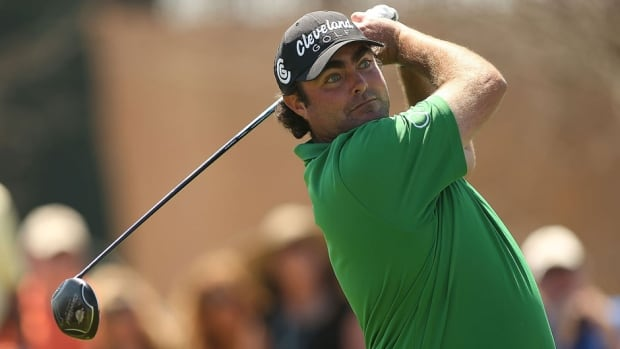Steven Bowditch tees off on the eighth hole during the Round Three of the Valero Texas Open at TPC San Antonio AT&T Oaks Course on Saturday in San Antonio.