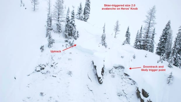 One person suffered minor injuries in an avalanche on Hero's Knob in K-Country Sunday.