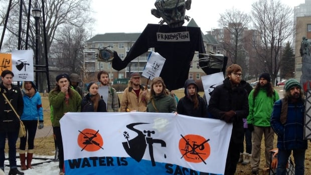 The fracking protesters regrouped in Cornwallis Park.