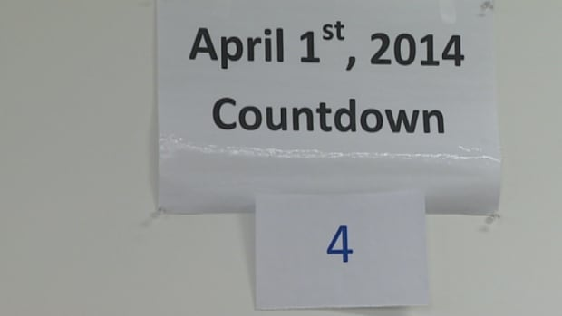 A countdown sign is posted outside of Blair Chapman's office. The director of the Northwest Territories human resources transition team is preparing for devolution, which officially goes into effect April 1.