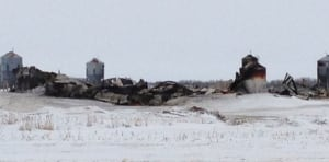 Ruins of burnt barn near Burr, Sask.