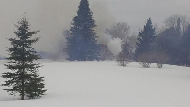 One person was taken to hospital Tuesday after a fire broke out at a rural home in north Thunder Bay, causing heavy damage.