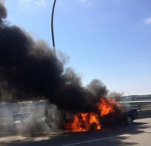 BMW burning on Gardiner Expressway
