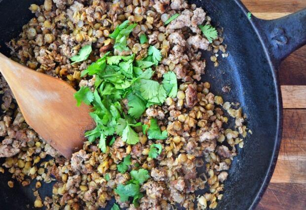 Crispy Lentils with Ground Lamb