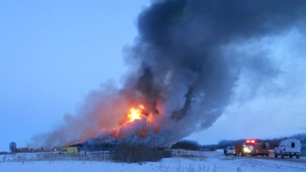 Fire destroyed a pig barn about 30 kilometres northwest of Lanigan, Sask., on Monday.