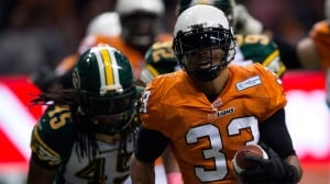 B.C. Lions running back Andrew Harris runs in for a touchdown in an October game last years against Edmonton.