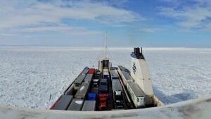 Marine Atlantic Blue Puttees stuck on ice