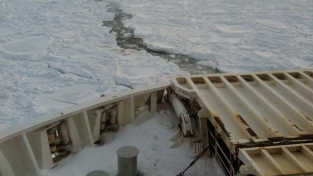 Passengers stuck on the Marine Atlantic ferries anxiously waited for Coast Guard icebreakers to free the vessels from the ice.