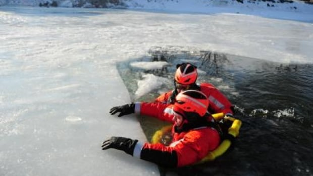 Coast guard demonstrates river rescue during training.