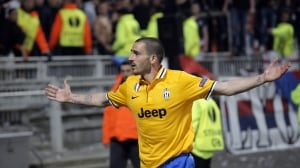 Juventus player Leonardo Bonucci celebrates after he scored a goal against Lyon during their Europa League soccer match in Lyon on Thursday.