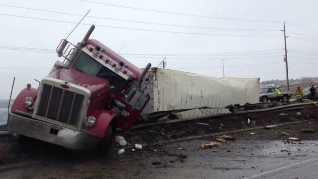 A truck crashed on Glenmore Trail while carrying a load of frozen meat.