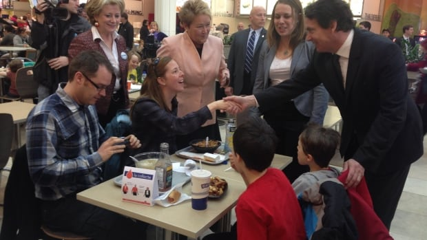 Pauline Marois campaigns in Rosemère with candidates Pierre Karl Péladeau, Martine Desjardins and Gyslaine Desrosiers.