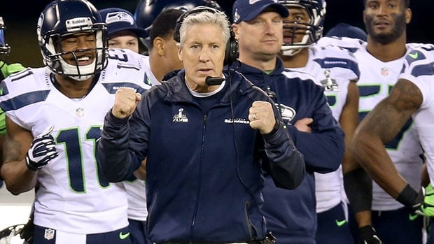 The youthful-looking Pete Carroll, front, is in fact the second-oldest head coach in the NFL.