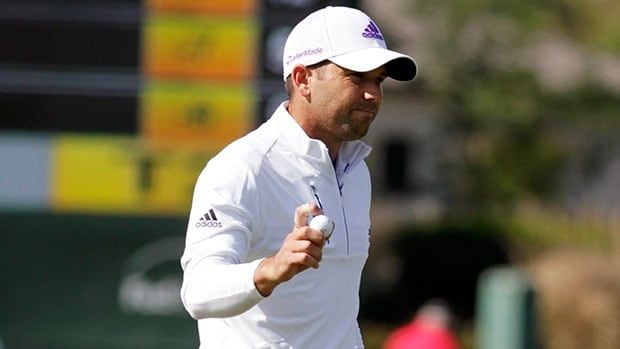 Sergio Garcia waves to the crowd after making par on the 18th hole during the second round of the Houston Open Friday in Humble, Texas.