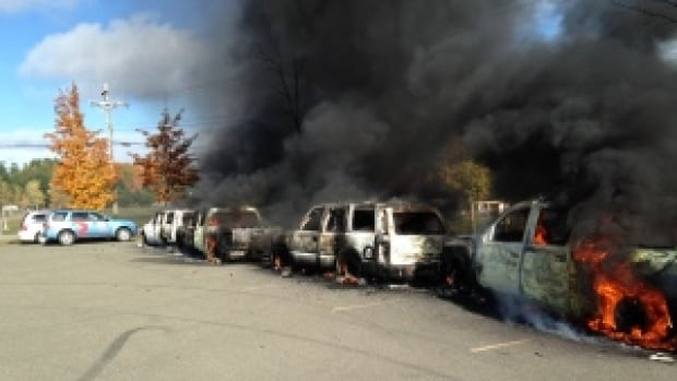 The RCMP say six of their vehicles were set on fire during last fall's shale gas protest in Rexton, N.B.