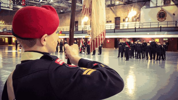 Cadets at Winnipeg's Minto Armoury marched to mark the anniversary of the Battle of Vimy Ridge Saturday.