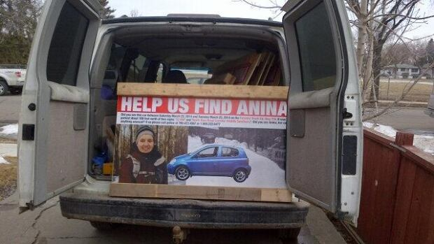 Friends of Anina Hundsdoerfer have made signs and billboards with her picture. They plan on plastering the Nordegg, Alta. area were Hundsdoerfer's car was found in the hopes of gathering new information on her disappearance.