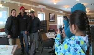 Adam Beach with fans in Happy Valley-Goose Bay