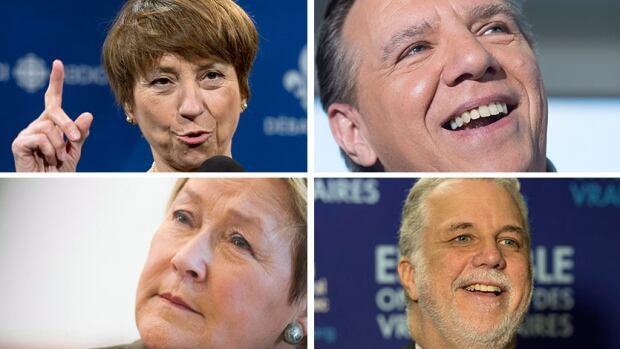 Quebec political leaders Françoise David, François Legault, Pauline Marois and Philippe Couillard (left to right, top to bottom).