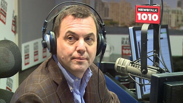 Ontario Progressive Conservative Leader Tim Hudak is seen in the Newstalk 1010 studio on Sunday afternoon.