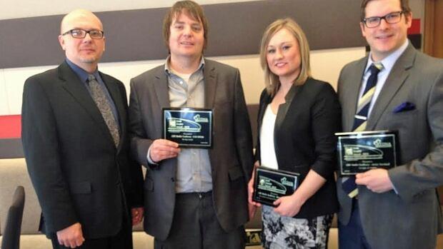 CBC Sudbury came home with three awards from this year's RTNDA Awards. Markus Schwabe, Erik White, Amy Dodge and Jason Turnbull picked up the awards on Saturday.