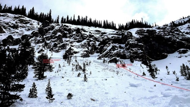 Two skiers were caught in an avalanche on Mt. Lawrence Grassi on Sunday but were not injured.