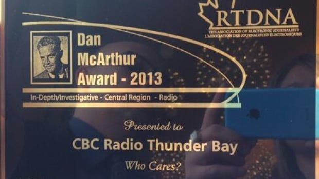 A CBC colleague snapped a picture of CBC Thunder Bay's RTNDA award on Saturday.