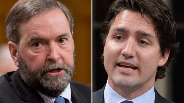 NDP leader Tom Mulcair and Liberal leader Justin Trudeau took shots at Prime Minister Stephen Harper for calling the byelection near the Canada Day long-weekend.