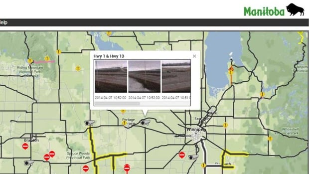 The Manitoba government's 511 highway conditions website shows real-time images from eight locations as of Monday, including the Trans-Canada Highway at Highway 13.