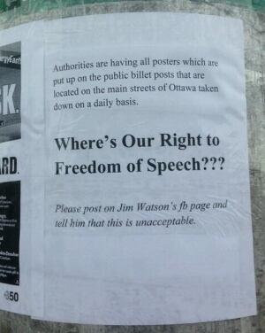 Poster wars Ottawa downtown poster collar taken down