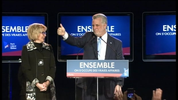 """""""We are all Quebecers,"""" Philippe Couillard said in his victory speech as the new Premier of Quebec."""