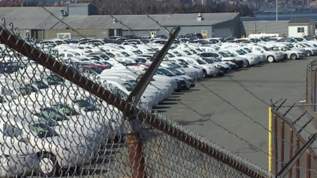 Cars wrapped for protection wait behind a fence in Eastern Passage.