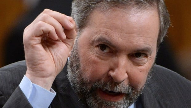 NDP leader Thomas Mulcair accused the Conservatives of politicizing the debate on marijuana during a speech to the Canadian Medical Association on Aug. 20, 2014.