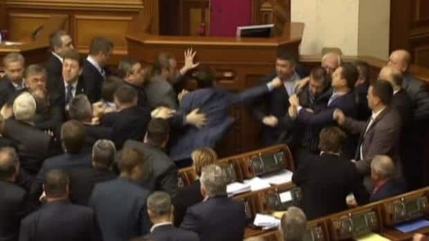 Fists fly in Ukrainian parliament