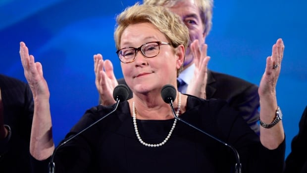 PQ leader Pauline Marois takes the stage after her party was defeated in the provincial election Monday April 7, 2014 in Montreal. Marois lost her seat in Charlevoix-Cote-de-Beaupré to Liberal candidate Caroline Simard.