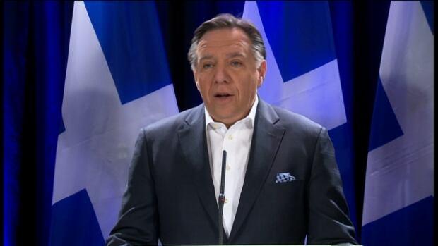 François Legault addresses media before heading back to Quebec City, the day after the 2014 Quebec election.