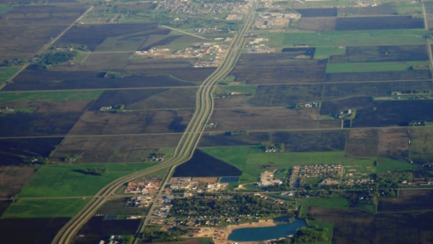 Highway 12, linking Steinbach and Blumenort, as seen from the air. Steinbach is in the upper part of the picture while Blumenort is located on the bottom.