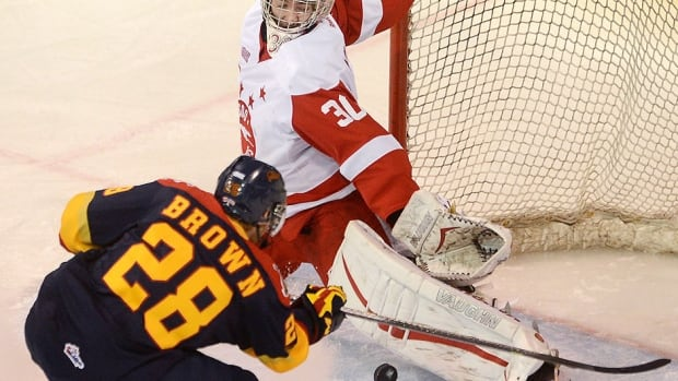 Greyhounds goalie Matt Murray stops the Otters' Connor Brown in the first period on Tuesday. Brown scored one of Erie's four goals as it completed a four-game sweep of Sault Ste. Marie in an OHL Western Conference semifinal.