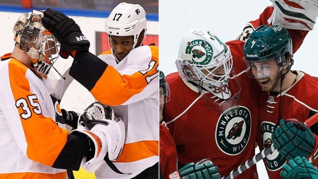 Flyers goalie Steve Mason, left, celebrates a playoff berth with teammate Wayne Simmonds in Florida. At right, Wild netminder Ilya Bryzgalov congratulates Jonathon Blum after Minnesota gained entry into the post-season with a 4-3 shootout win over Boston.