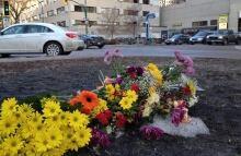 Flowers at memorial site