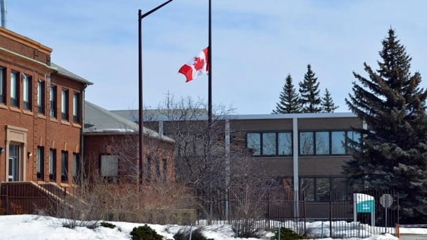 A flag is lowered to half-mast at Vale's offices in Copper Cliff, near Sudbury, Ont. Smelter worker Paul Rochette was killed on the job on April 6.