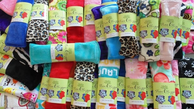Tree Hugger cloth pads come in a range of colours and patterns. A starter set of one of each size costs $42.