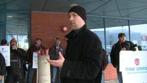 FFAW's Jason Springle protesting in Corner Brook