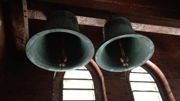 Four of these antique carillon bells were stolen Tuesday night.