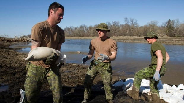 Canadian soldiers re-enforce a soft spot in the dike along the Assiniboine River in Poplar Point, Man. in 2011. The new military fitness test simulates tasks that all Canadian Forces members are expected to be able to perform, including lifting sandbags.