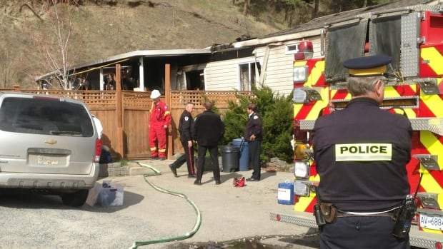 A mobile home in West Kelowna, b.C., was gutted after fire broke out in the early hours of Wednesday morning.