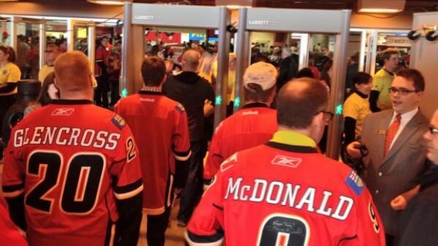 Calgary Flames fans have had to pass through metal detectors since Feb. 27 when the L.A. Kings were in town.