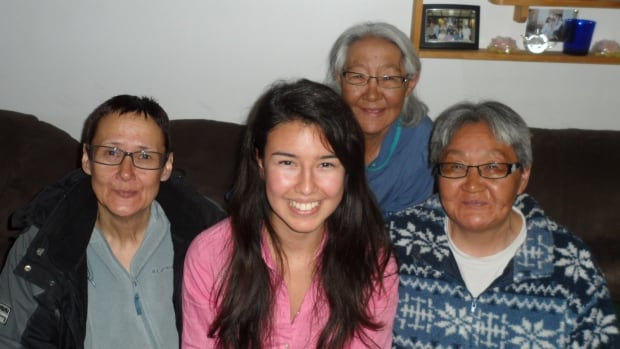 Donna May Kimmaliardjuk with three aunts: Mary, Elizabeth and Helen Kreelak. Though she grew up in Ottawa, her family has roots in Chesterfield Inlet and Rankin Inlet in Nunavut. Now, she's on her way to becoming a cardiac surgeon.