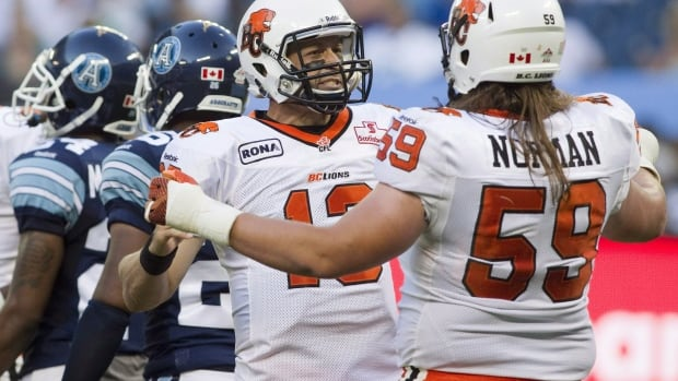 Matt Norman is shown in a 2012 CFL game with the B.C. Lions.